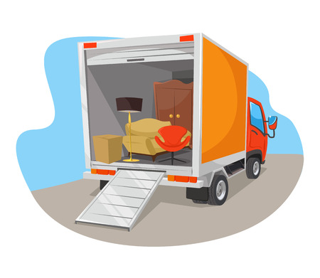 moving truck: Vector delivery car flat illustration