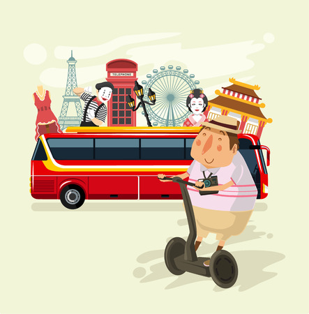 tourism: Vector tourism flat illustration