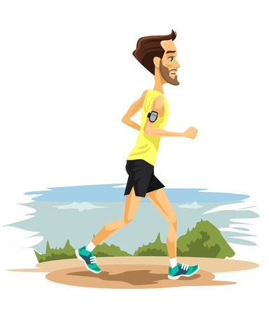 man outdoors: Man runs. Vector flat cartoon illustration Illustration