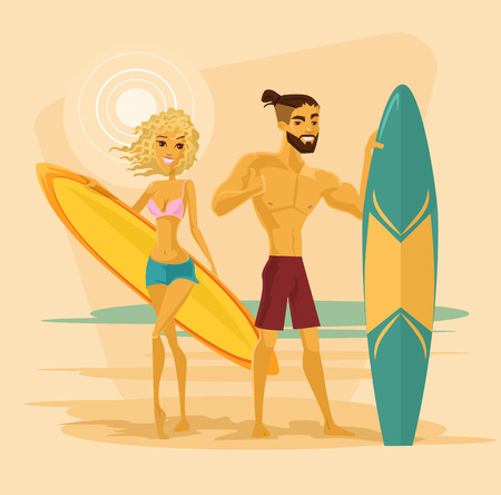cruise travel: Surfing couple. Vector flat cartoon illustration