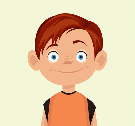 young people fun: Vector little boy flat illustration