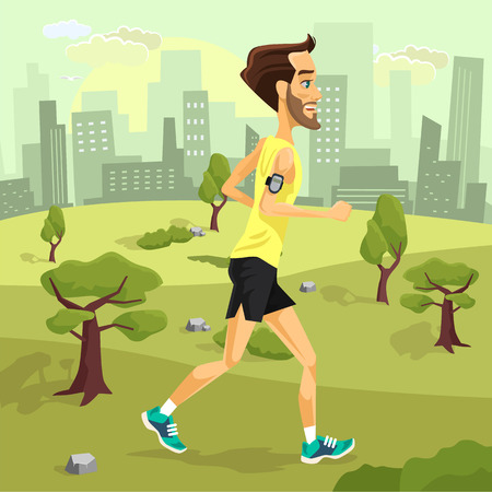 jogging: Man runs. Vector flat cartoon illustration Illustration