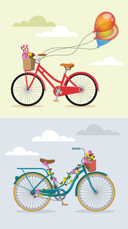 flower baskets: Bike with flowers set. Vector flat illustration