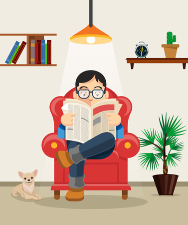 gente sentada: Hombre leyendo el periódico. Vector ilustración de dibujos animados plana