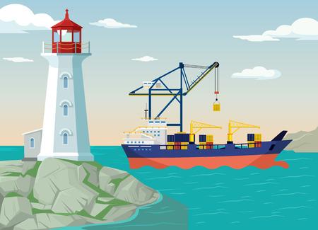 coast: Vector port flat illustration