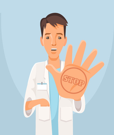 denial: Doctor stop viruses. Vector flat illustration