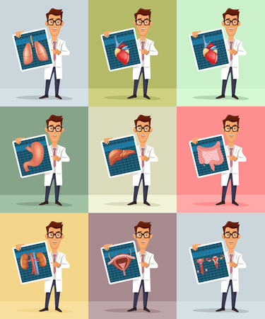 stereotype: Doctor and internal organs. Vector flat illustration
