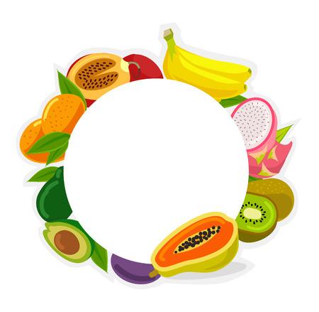 alimentos saludables: Vector marco de la ilustración de frutas