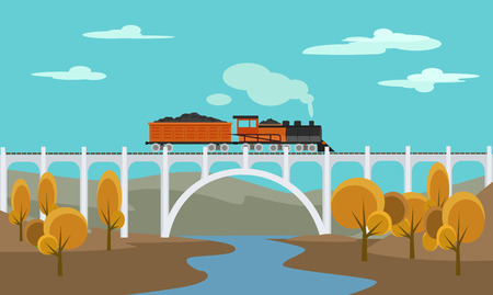 Freight train. Vector flat illustration Иллюстрация