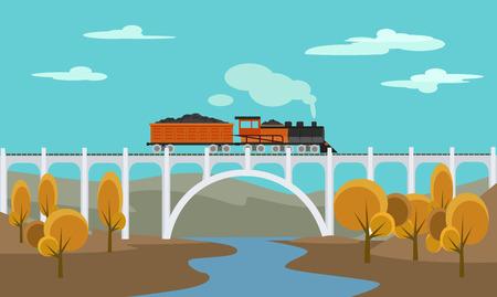 ferrocarril: Tren de carga. Vector ilustración plana
