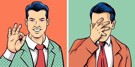 Aceptar hombre y el hombre facepalm. Ilustración vectorial conjunto