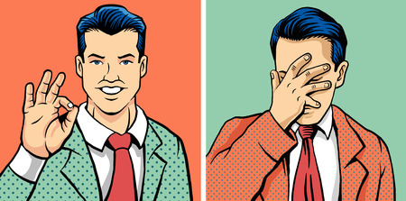 ok hand: OK man and facepalm man. Vector illustration set