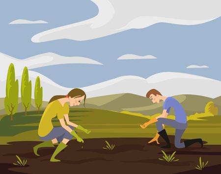 siembra: Vector ilustración de siembra plana Vectores
