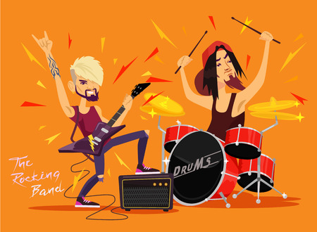 rock band: Vector rock band flat illustration