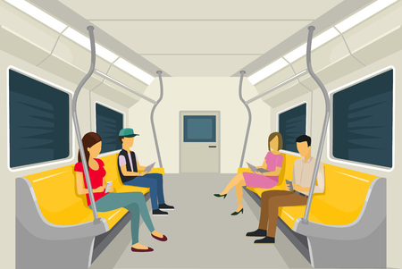 Vector subway flat illustration Çizim