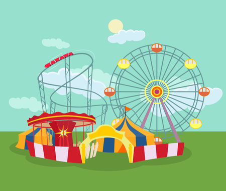 Amusement park. Vector flat illustration Иллюстрация