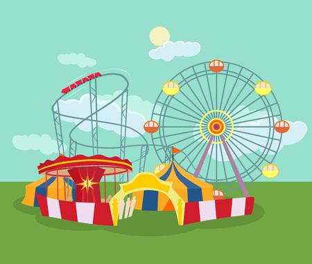 Amusement park. Vector flat illustration Illustration