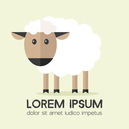 pecora: Vector pecore illustrazione piatta