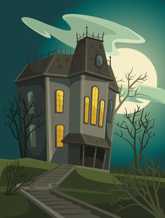 ハロウィーンの家。ベクトル漫画の実例  イラスト・ベクター素材