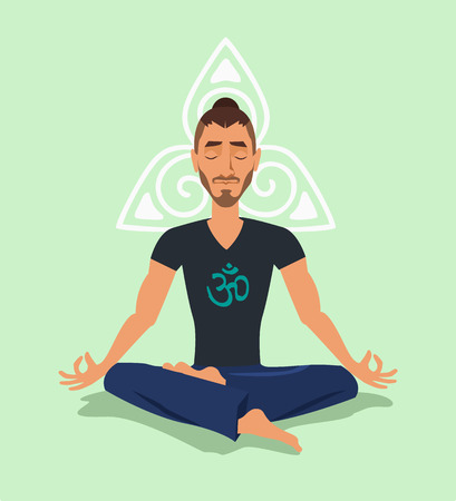 Yoga man. Vector flat illustration