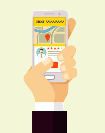 city traffic: Taxi mobile app. Vector flat illustration Illustration