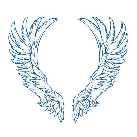 tatouage ange: Ailes tatouage illustration de bande dessinée de vecteur Illustration