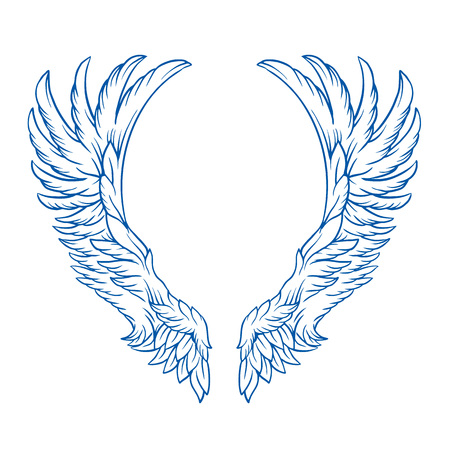 Wings tattoo vector cartoon illustration
