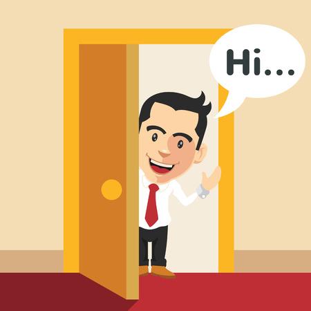open doors: Businessman say hi. Vector flat illustration
