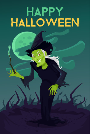 witch on broom: Halloween witch vector cartoon illustration