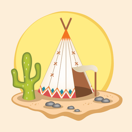 wigwam: Indian wigwam. Vector flat illustration