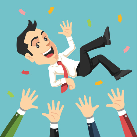 throw up: Businessman being thrown in the air. Vector flat illustration