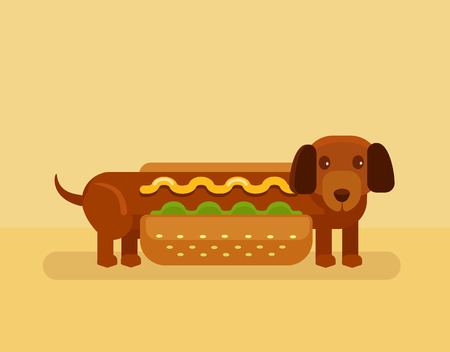 sausage dog: Vector hot dog flat illustration