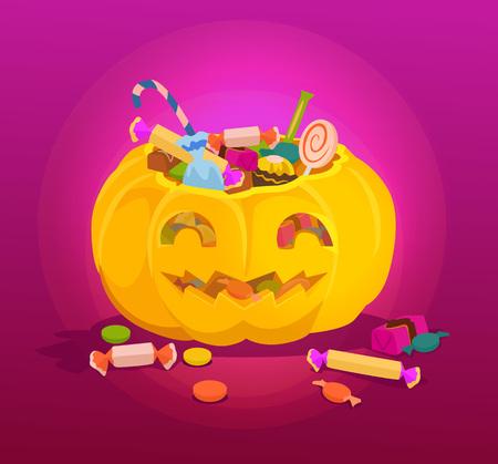 treats: Pumpkin full of sweets. Vector cartoon illustration Illustration