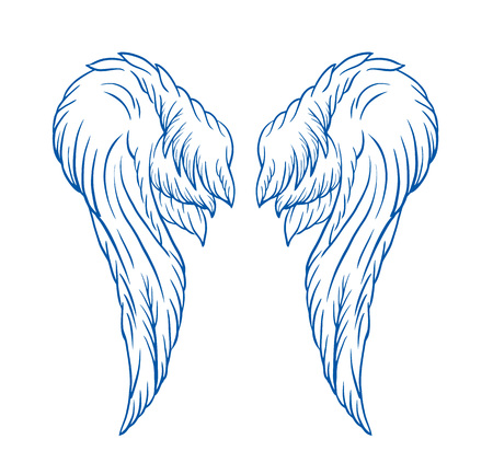 Wings tattoo vector cartoon illustration