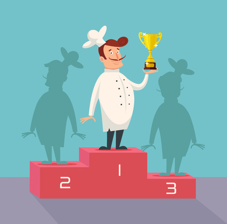 Chef winner. Vector flat illustration
