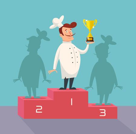 Zwycięzca Chef. Wektor ilustracja płaskie