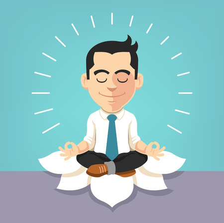 office manager: Businessman doing yoga. Vector flat illustration