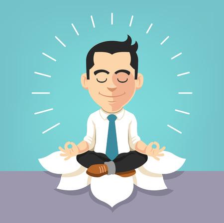 estrés: Hombre de negocios haciendo yoga. Vector ilustración plana