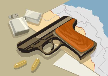 top gun: Vector gun on table. Vector flat illustration Illustration