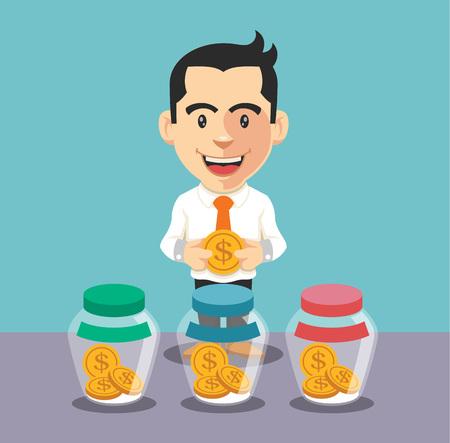 frasco: El hombre de negocios que pone la moneda en la jarra. Vector plana illusration
