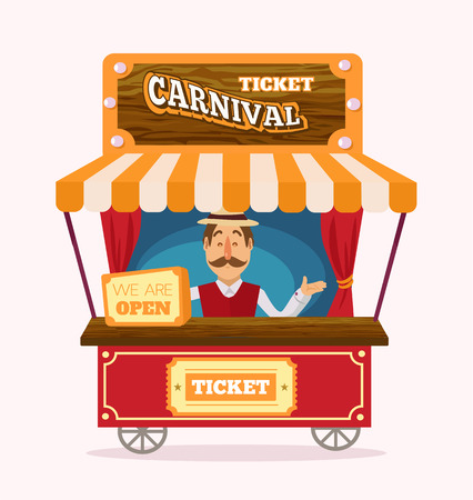circus ticket: Ticket booth. Vector flat illustration Illustration
