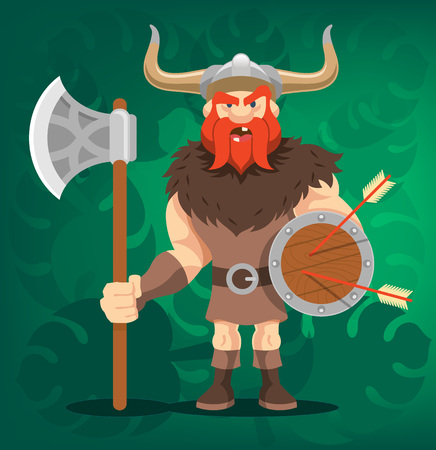 fantasy warrior: Vector viking funny cartoon illustration