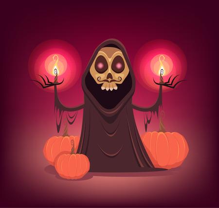 vector skull danger sign: Halloween death vector cartoon illustration