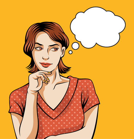 mujer pensando: Pensando encima de la mujer. Vector Illustratiion