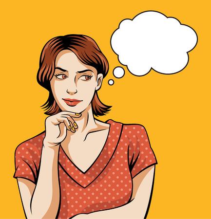 Thinking pin up woman. Vector illustratiion Vectores