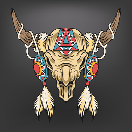 Buffalo skull. Vector art illustration Çizim
