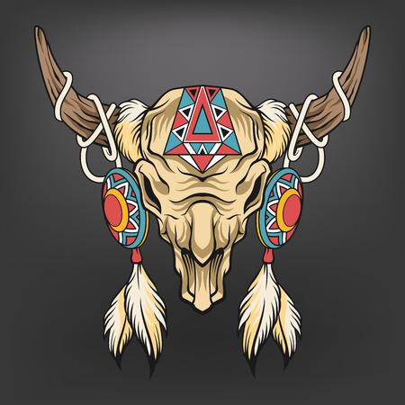 Buffalo skull. Vector art illustration Vettoriali