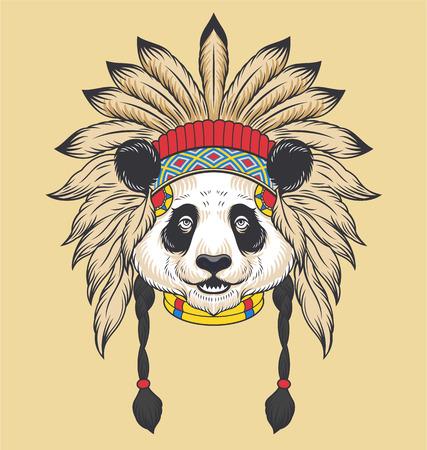 インドのパンダ頭。ベクトル図  イラスト・ベクター素材