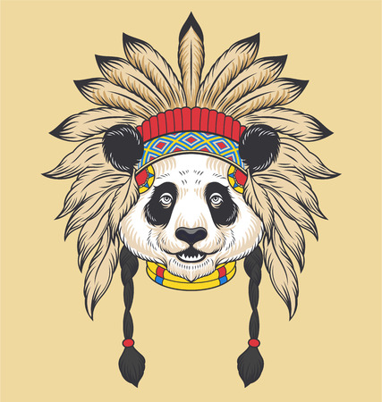 totem indien: Tête de Panda indienne. Vector illustration Illustration