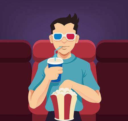 cinematographer: Boy in cinema 3D. Vector flat illustration